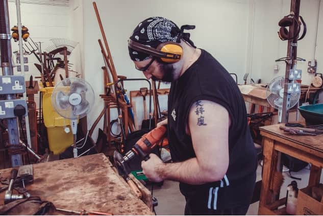 Veteran doing woodwork