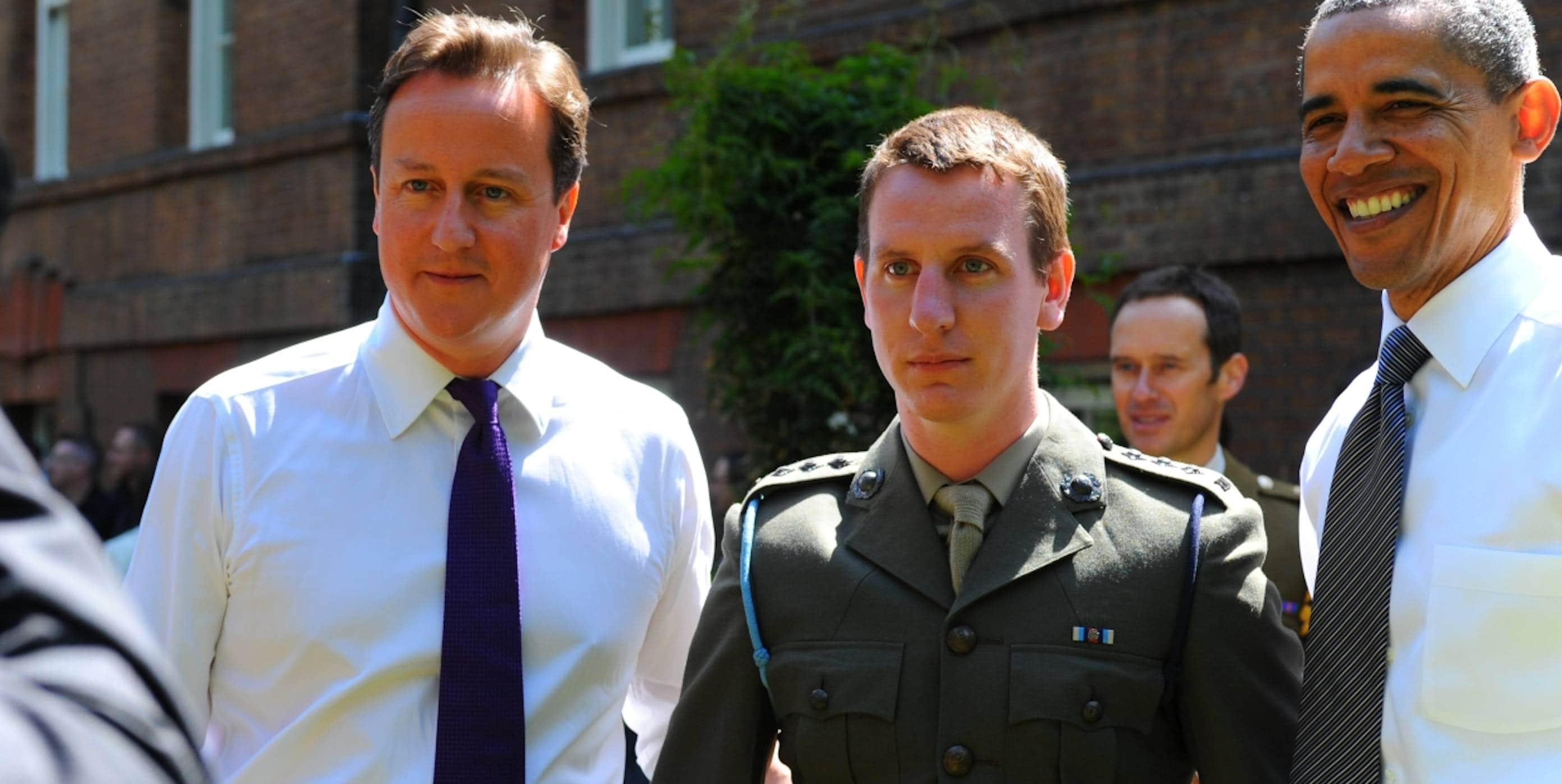 Veteran with David Cameron and Barack Obama