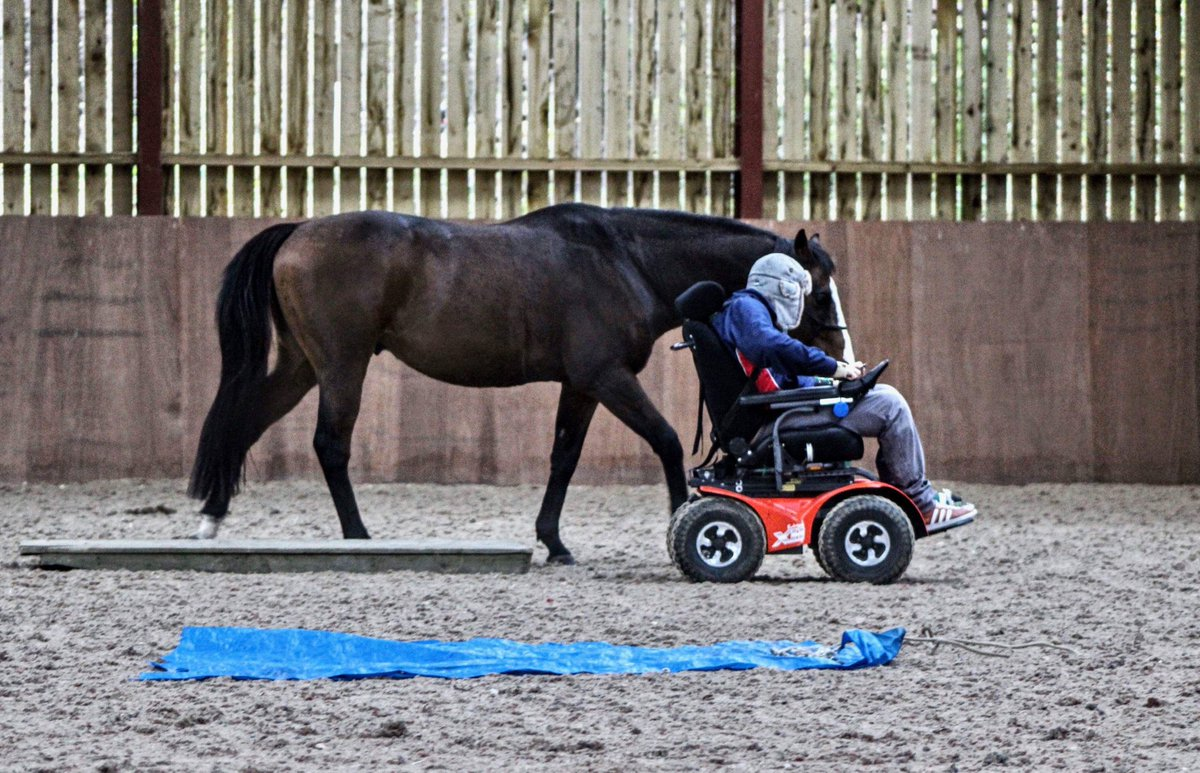 Disabled man leading a horse