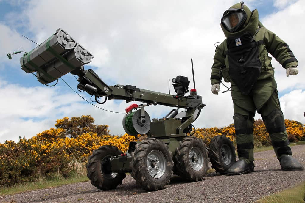 Bomb disposal officer and robot